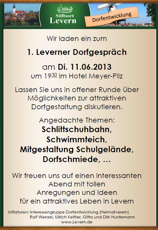 1. Leverner Dorfgespräch findet am 11.06.2013 im Hotel Meyer-Pilz statt