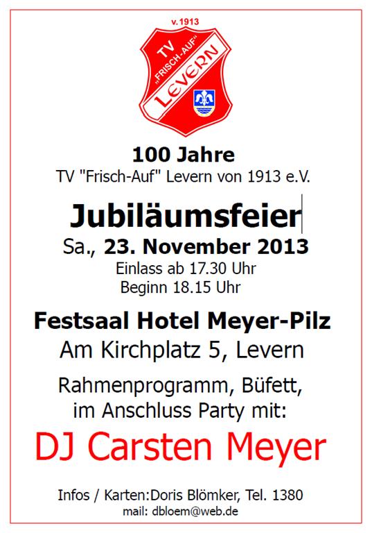"""Jubiläumsfeier – 100 Jahre TV """"Frisch-Auf"""" Levern von 1913 e.V."""