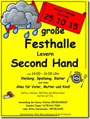 Second Hand Basar in der GROßEN Festhalle Levern wird auf den 25.10.2015 verschoben!