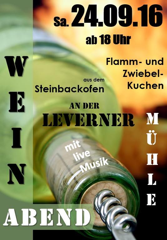 Weinabend am 24. 9. an der Kolthoffschen Mühle Flamm- und Zwiebelkuchen aus dem Steinbackofen