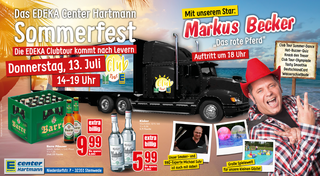 Sommerfest mit Party-Säger Markus Becker am EDEKA Center Hartmann