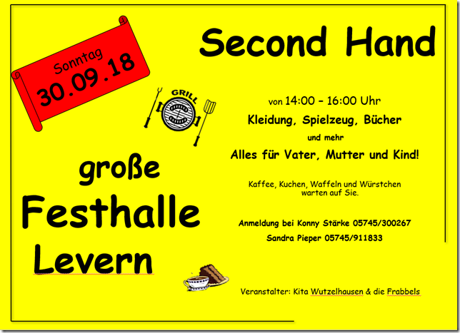 Second-Hand-Basar in Levern am 30.09.2018