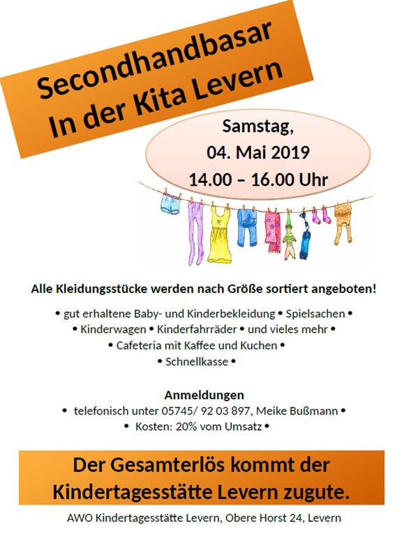 Secondhandbasar In der Kita Levern am 04.05.2019