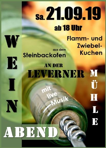 Gemütlicher Weinabend am 21.09.2019 ab 18:00 an der Windmühle Levern